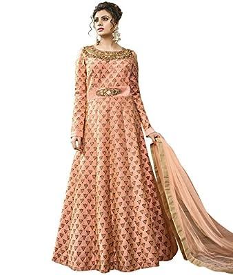 Indian Ethnic Satin Silk Peach Abaya Suit Readymade