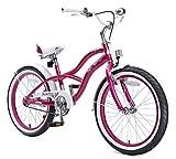 BIKESTAR Premium Sicherheits Kinderfahrrad 20 Zoll für Mädchen ab 6 - 7 Jahre ? 20er Kinderrad Cruiser ? Fahrrad für Kinder Violet Vergleich