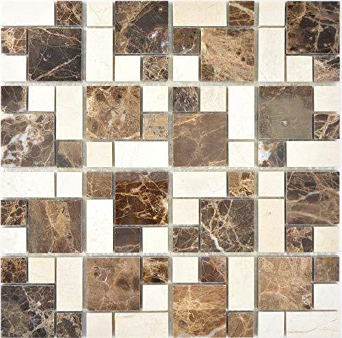 Marmor Mosaik Stein emperador dark cremarfil Wand Boden Küche Dusche Bad Fliesenspiegel|88-1312_f|10 Mosaikmatten -