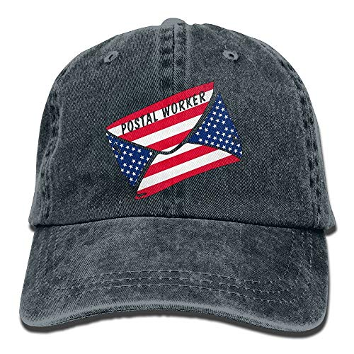 Postal Worker US Flag American Flag Classic Unisex Baseball Cap Adjustable Washed Dyed Cotton Ball Hat Navy -