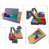 scalesport Spielsofa KG03B 4in1 Kindersofa Spielmatraze für Das Kinderzimmer Spielpolster Softsofa Puzzle Kinderzimmersofa Spieltisch Kindermöbel