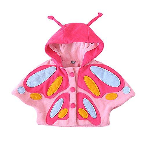 Lazzboy Karneval Kinder Baby Mädchen Herbst Winter 3D Schmetterling Mit Kapuze Jacke Dicke Kleidung(Rosa,Höhe 100)