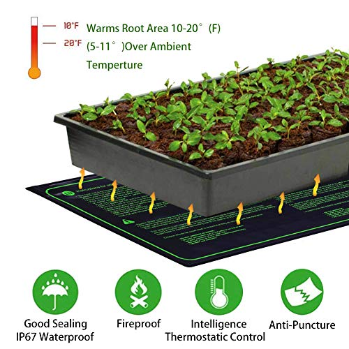 "RINBO Seedling Heat Mat, Heating Mat Heated Propagator, Hydroponic Seedling Reptile Plant for Indoor Outdoor Gardening Greenhouse, Durable Waterproof 100% Safe, 10""x20.75""/25x50cm (Seedling Heat Mat)"