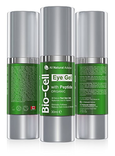 Gel Bio Cell Eye da 30 ml - Prodotto in Canada- Certificazione biologica + Peptidi + Acido ialuronico + Cellule staminali vegetali che eliminano occhiaie e gonfiore, aumentando la produzione di collagene, formula antinvecchiamento - di All Natural Advice