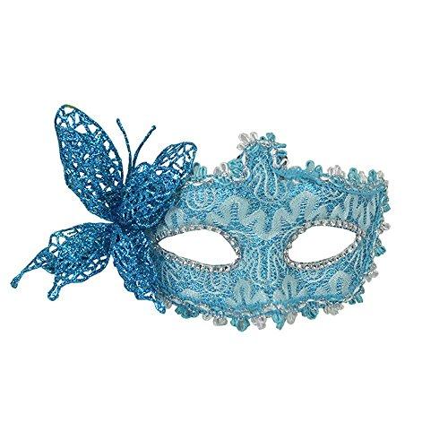 Maskerade,Halloween Venedig Maske Make-up Tanz Party Maske Cos Beauty Prinzessin halb Gesicht Federmaske Schmetterling blau Masquerade