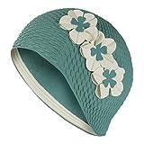 Fashy Damen Badekappe, Vintage-Design, klassisch, mit 3 weißen Blumen, Grün