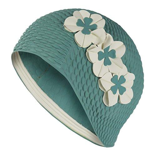 Fashy, cuffia da piscina da donna, con 3 fiori bianchi, stile vintage, colore: verde