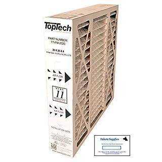 TopTech TT-FM-2020 Ready to Use TechPure TTFM2020 Air Filter 20x20x4 Top Tech OEM Cartridge 20 by 20 by 4 in Furnace MERV 11 for Carrier TT-MAC-2122 TT-MAC-2020 with Dakota Supply Installation Sticker