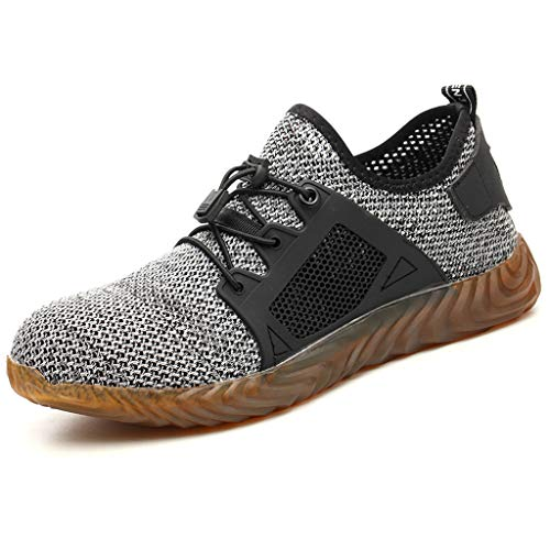 LILIHOT Womens Mens Sportschuhe Sicherheit Stahlkappe Arbeit Wandern Atmungsaktive Trainer Stiefel Schuhe Gym Turnschuhe Leichtgewicht Laufschuhe Lace Up Freizeitschuhe Outdoor Sneaker -