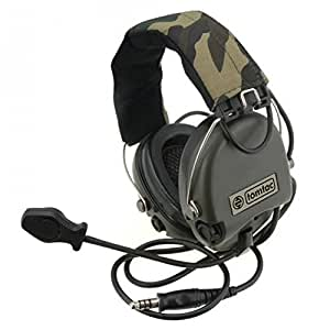 Tomtac Airsoft Sordin Headset Mic radio Boom MSA Motif Woodland/OD Vert