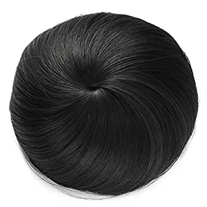 One Dor Synthetic Hair Bun Extension Donut Chignon Hairpiece Wig (1 B Off Black)