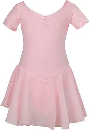 Lily's Locker Girls Kids Ballet Dress Short Sleeve Dance Leotard with Chiffon Skirt
