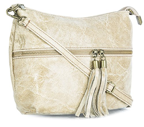 Big Handbag Shop donna vera pelle tasca frontale lunga Tassel Estrattore Borsa Beige