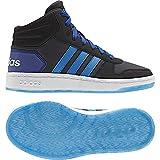 adidas Vs Hoops Mid 2.0 K, Scarpe da Basket Unisex-Bambini, Grigio (Carbon/Brblue/Cblack 000), 39 1/3 EU