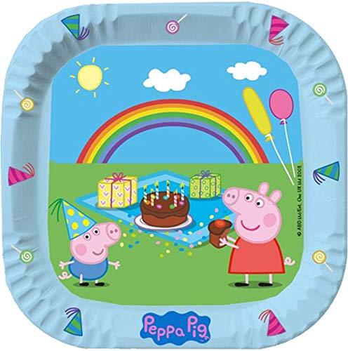 6 quadratische Teller * Peppa Pig * für Kindergeburtstag und Mottoparty | Wutz Kinder Geburtstag Plate Partyteller Pappteller