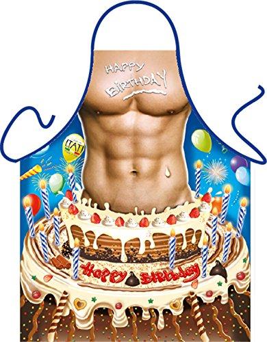 Torte Mann Happy Birthday - Fun Motiv Schürze - mit Gratis-Urkunde