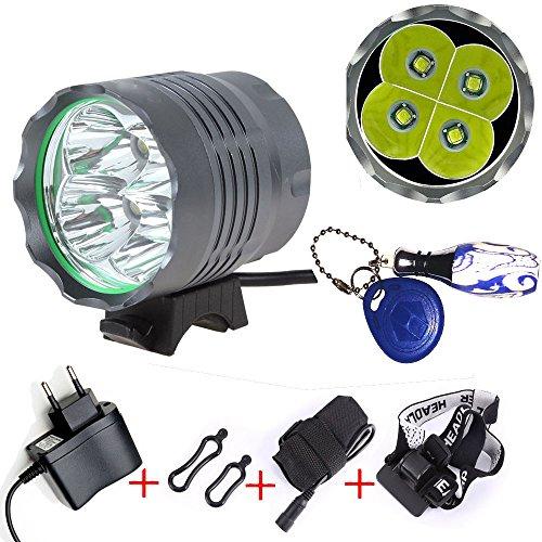 Wii CREE 4x XM-L T6 Frontlichter FahrradLicht Fahrrad licht lamp 4800 lumen Fahrradlampe Fahrradbeleuchtung Stirnlampe mit 6x18650 Akkupack + Ladegerät & LED Mini Taschenlampe Schlüsselanhänger Keyring Handlampe Camping (4x)