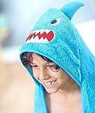 #7: Rabitat Kids Hooded Bath Towel Super Soft Made with Zero Twist Cotton (Blue Shark)