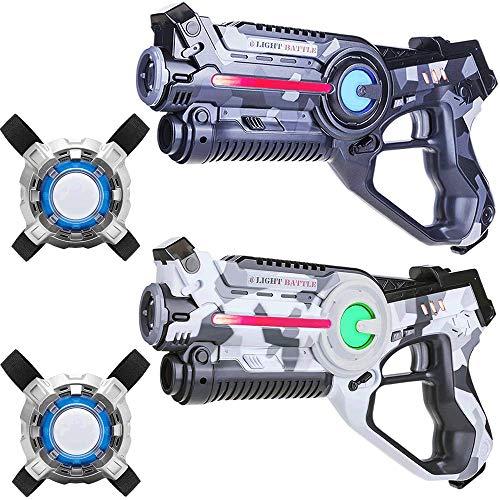 Light Battle Laser Game - 2 Pistolets de Jeu Laser (Blanc Camo, Gris Camo) + 2X Laser Tag Plastrons - LBAPV22267