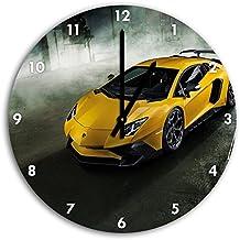 foto Lamborghini Aventador en el reloj de pared con negro señaló las manos y la cara, de 30 cm de diámetro, decoración perfecta para su hogar, idea regalo estupendo para jóvenes y mayores