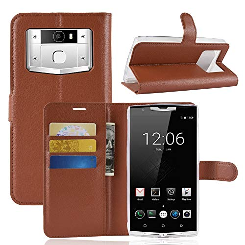 Ycloud Tasche für Oukitel K10000 Pro Hülle, PU Kunstleder Ledertasche Flip Cover Wallet Case Handyhülle mit Stand Function Credit Card Slots Bookstyle Purse Design Braun