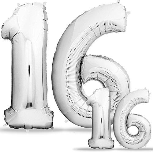 Luftballons 16 Geburtstag Sweet 16 XXL - Riesen Folienballon Heliumballon in 2 Größen 40