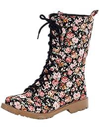 eccb7dfd1a5530 YE Damen Blumenmuster Halbschaft Stiefel Flach Canvas Stoff Boots mit  Blumen und Schnürung Winterboots Bequeme Süße