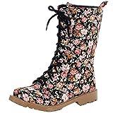 YE Damen Blumenmuster Halbschaft Stiefel Flach Canvas Stoff Boots mit Blumen und Schnürung Winterboots Bequeme Süße Schuhe