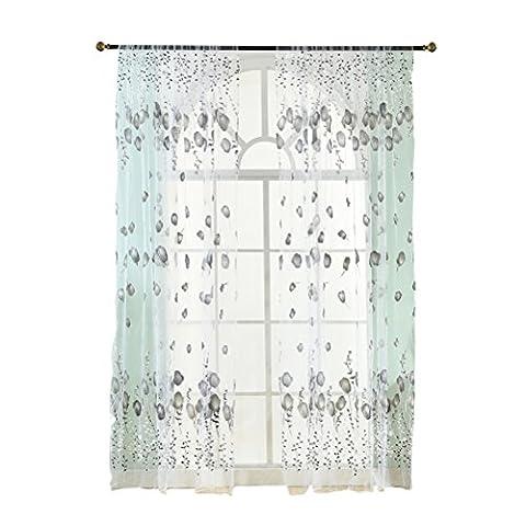 WINOMO Transparente Voile Vorhänge Gardine Schal für Schlafzimmer Wohnzimmer Blumen Druck 200 x 100