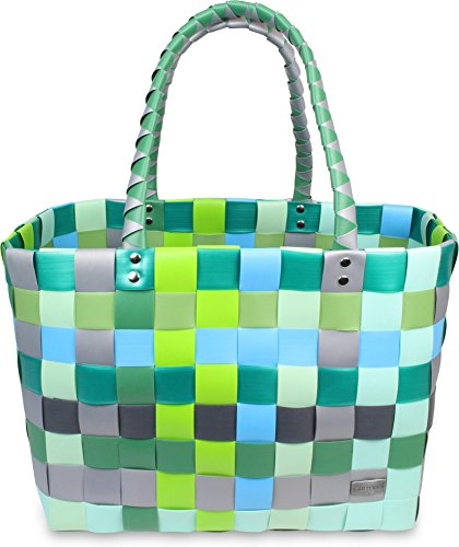 normani® Einkaufstasche Shopper geflochten aus Kunststoff - robuster Strandkorb Vintage Style 38cm x 25cm x 28cm Farbe Classic/Raindrop
