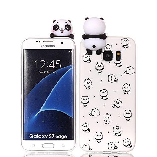 HopMore 3D Schutzhülle für Samsung Galaxy S7 Edge Hülle Silikon Tier Panda Einhorn Muster Ultra Dünn Slim Handyhülle One Piece Silikonhülle Case Cover für Samsung S7 Edge - Kleiner Panda - Samsung Projektor 3d