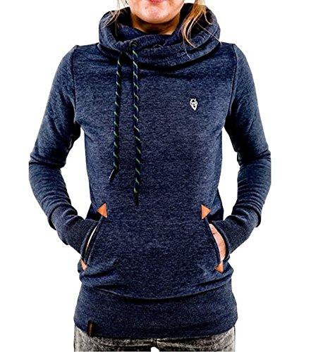 ShallGood Frühling Herbst Damen Sweatshirt Langärmelige Frauen Outerwear mit Kapuzen und Schrägem Reißverschluss Blau DE 36 (Leder-jacke Cut)