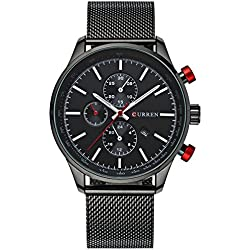 Mens Luxury Stainless Steel Mesh Band Watch With Date Male Casual Dress Sport Wrist Watches Black