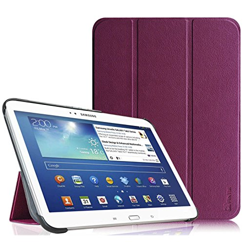 Fintie Samsung Galaxy Tab 3 10.1 Hülle Case – Ultradünne Lightweight superleicht Ständer SlimShell Cover Schutzhülle Tasche Etui mit Auto Sleep Wake up für Samsung Galaxy Tab 3 (10,1 Zoll) P5200 / P5210, Lila (Samsung Tablet Tasche Für Auto)