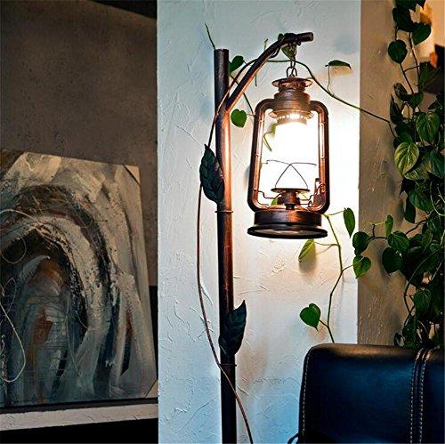 Glas-antike Stehlampe (KDLD Stehleuchten ® Stehlampe Antike Stehleuchte Schlafzimmer Wohnzimmer Schmiedeeisen Glas Creative Kerosin Lampen)