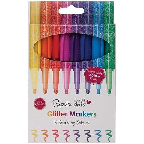 Papermania - Pennarelli con brillantini, punta grossa, colori dell'arcobaleno, 8 pezzi
