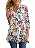 FIYOTE Womens Casual Floral Print V Neck Loose Cuffed 3 4 Sleeve Blouses Tops Small White 1