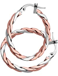 Citerna 9 ct Rose and White Gold Alternate Twist Hoop Earrings
