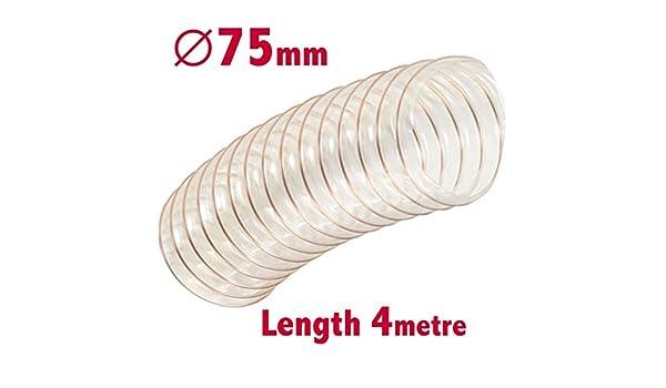 Flexible Effacer Tuyau dextracteur de poussi/ère 75/mm ID X 4/m de long dextraction de sciure FUME menuiserie Conduit Ventilation Tuyau