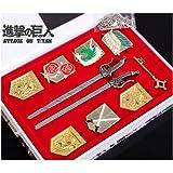 Attack on Titan Shingeki No Kyojin: 7 Metal Badges + 1 Key + a Pair of Mini Swords Pendant Necklace Survey Corps Set