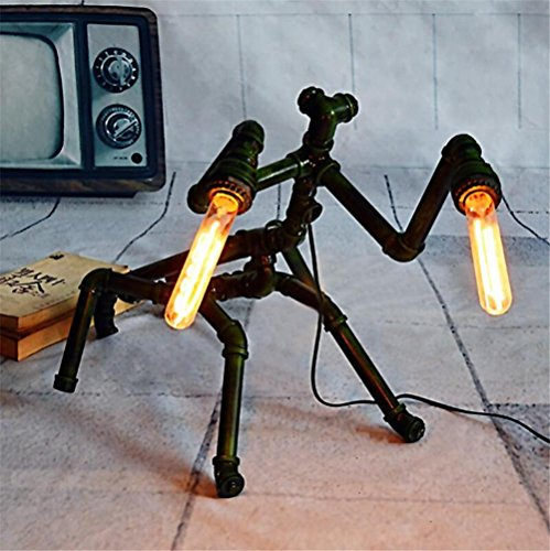 BIUODY epoca industriale in ferro battuto mantide tubi di acqua Lampada da tavolo camera da letto soggiorno dimmerabile fatti a mano tavolo luminoso studio Lampada da tavolo