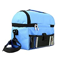 EasiTool 2 Layer Insulated Cooler Lunch Bag Double Sewn Large Lunch Boxes with Zipper Closures for School, Picnic, Office, with Adjustable Shoulder Strap for Easy Transport - Blue