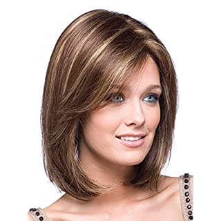 Kalyss Women's Short Bob Style Straight Brown with Blonde Highlights Hair wigs for women