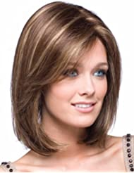 Amazon short wigs hair extensions wigs accessories kalyss womens short bob style straight brown with blonde pmusecretfo Image collections