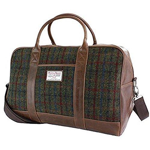Traditionelle Harris Tweed & Faux Leder Reise holdall von der britischen Bag...