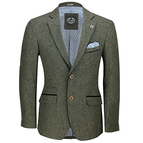 Xposed Mens Green Wool Mix Tweed 3 Piece Suit Sold Separately Blazer Trouser Waistcoat