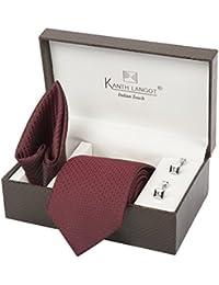 Kanthlangot Men's Jacquard Tie, Pocket Square and Cufflinks Set (Multicolour_Free Size)