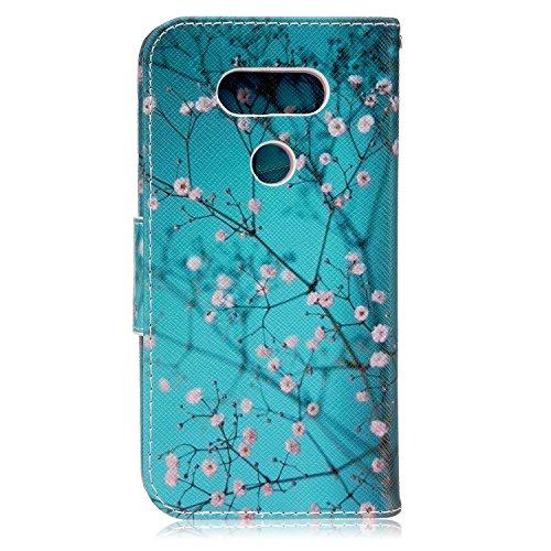 Custodia LG G5, LG G5 Flip Cover - ISAKEN Elegante borsa Custodia in Pelle Protettiva Flip Portafoglio Case Cover per LG G5 / con Supporto di Stand / Carte Slot / Chiusura Magnetica - painting tree flower rosa