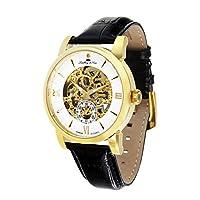 Lindberg & Sons SK14H048 - Reloj mecanico automatico analogico de pulsera con diamante real y con correa de cuero negro, para hombre, diseño esqueleto de Lindberg&Sons
