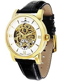 Lindberg & Sons SK14H048 - Reloj mecanico automatico analogico de pulsera con diamante real y con correa de cuero negro, para hombre, diseño esqueleto